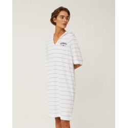 Lexington PETRA TERRY DRESS, OFFWHITE/LIGHT BLUE STRIPE