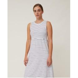 Lexington Nadia Jersey Long Dress, White/Blue Stripe