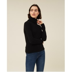 LEXINGTON Francoise Cotton/Cashmere Roll Neck, Black