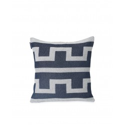 LEXINGTON Graphic Recycled Cotton Pillow Cover, Off White/Dark Blue 50X50